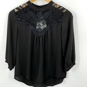 By & By | Black Lace top, Sz S, 3/4 sleeve.
